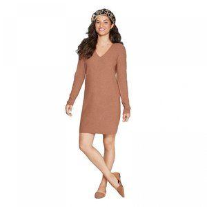 NWT A New Day V-Neck Sweater Dress Medium Brown